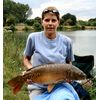 Marie Fearn July 2008 with a carp from peg 9 on the Pleasure Lake caught on banded Barford Pellet